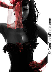 woman stripper showgirl portrait silhouette - one caucasian...
