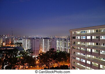 Singapore HDB apartments early morn - Singapore public...