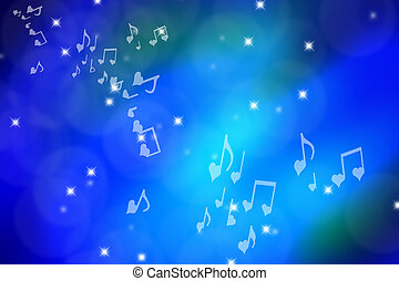 Shiny Blue Page With Stars, Bubbles and Musical Notes - Blue...