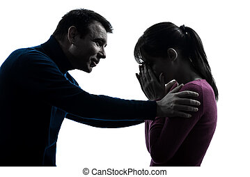 couple woman crying man consoling silhouette - one caucasian...