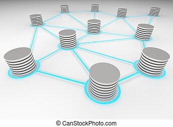Interconnected Databases - 3d render illustration of...