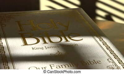 Bible - Holy Bible as time lapsed shadows from window blinds...
