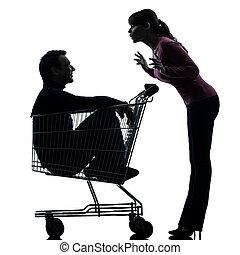 par, mulher, homem, sentando, shopping, carreta, silueta