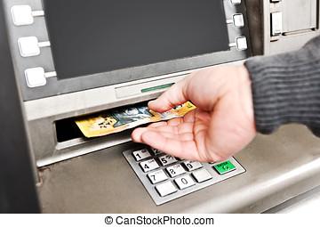 retirando, Dinheiro, ATM, colecionar, Australiano, $50,...