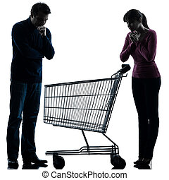 couple woman man sad with empty shopping cart silhouette -...