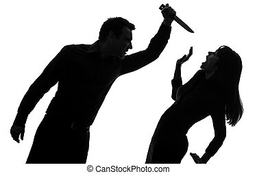 couple man killing woman silhouette - one caucasian couple...