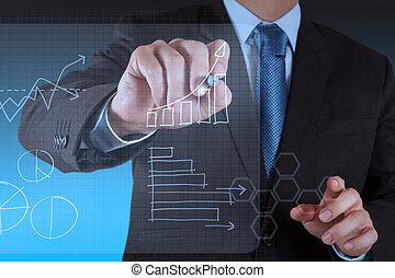 working on modern technology business - businessman hand...