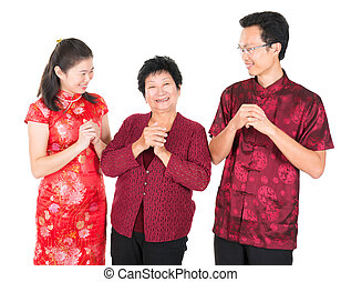 Chinese family greeting