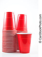 Plastic Cups - Plastic drinking cups ready for a party.