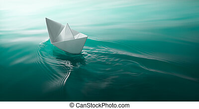 paper boat sailing - origami paper boat sailing on water...