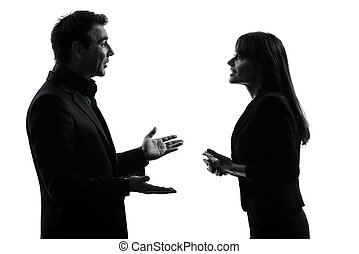 business couple woman man silhouette - one caucasian couple...