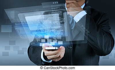 businessman shows modern technology as concept