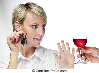 drunk - young blond woman with car keys declining drink...