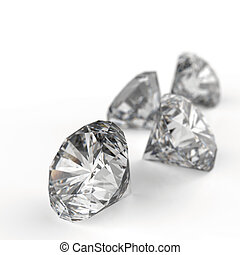 Diamonds 3d model - Diamonds isolated on white 3d model