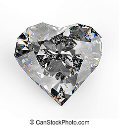 diamond heart shape - 3d diamond heart shape on white...