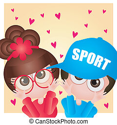 Cute couple - This image is a vector illustration and can be...