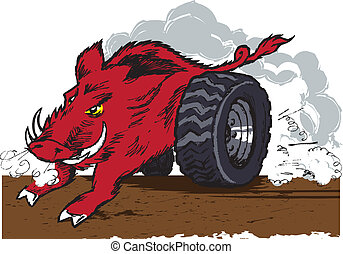 Wild Racing Hog - A wild hog with racing wheels