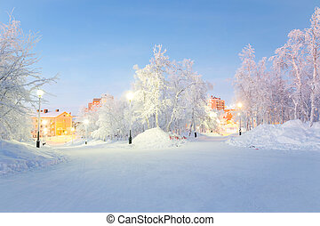 Winter landscape City Garden in Kiruna Sweden