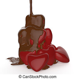 chocolate syrup leaking over heart shape symbol