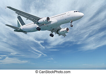 Commercial aircraft in sky - Against the background of the...