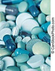 Medical pills close-up - Medical preparations - pills...