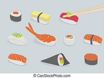 sushi - background illustration of various types of sushi,...