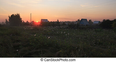 Summer sunset in the country village.