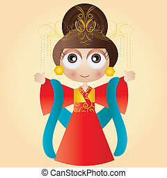 Chinese queen - This image is a vector illustration and can...