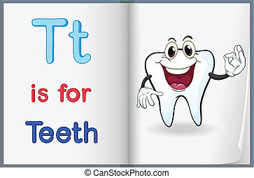 A picture of a tooth in a book - Illustration of a tooth in...