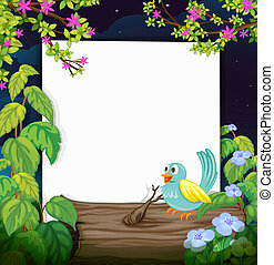 A bird and a white board - Illustration of a bird and a...