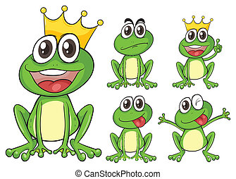 Green frogs - Illustration of green frogs on a white...