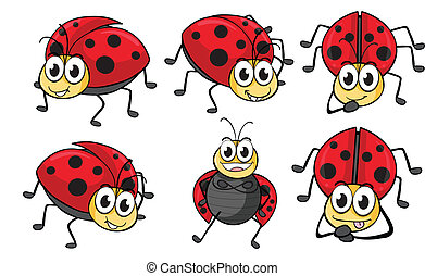Smiling ladybugs - Illustration of smiling ladybugs on a...