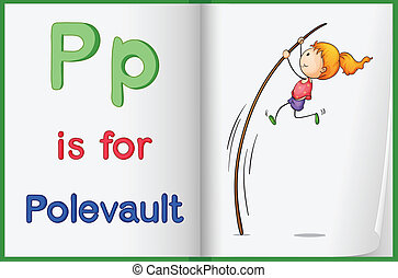 A picture of pole vault in a book - Illustration of a pole...