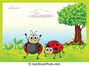 Smiling ladybugs - Illustration of smiling ladybugs in a...