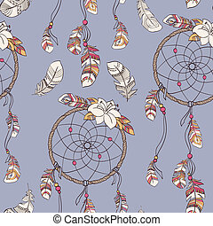 Seamless ethnic ornate dreamcatcher pattern - Seamless...