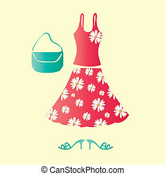 Girly dress - This image is a vector illustration and can be...