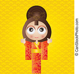 Japanese girl - This image is a vector illustration and can...