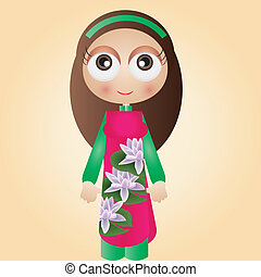 Vietnamese girl - This image is a vector illustration and...