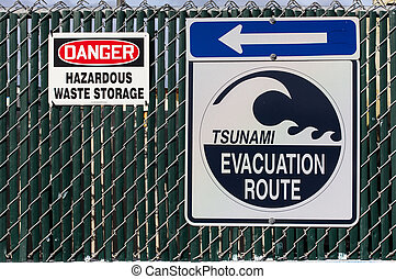 Tsunami Evacuation Route Sign.