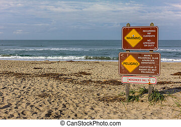 Sign Warns of Rip Currents on Salinas State Beach,...