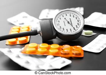 sangre, presión, metro, píldoras, tabla