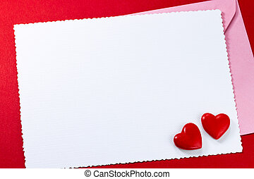Valentine's greeting card with hearts