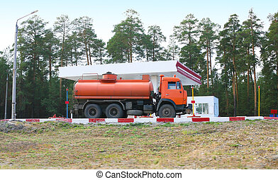 fuel truck at gas station