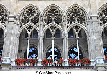 Arches of Vienna City Hall building
