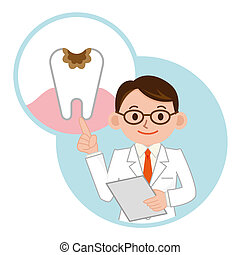 Doctor and dental caries - Physician to the description of...