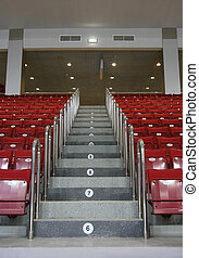 stadium interior with seats and ladder