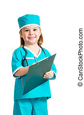 Cute kid girl uniformed as doctor over white background -...