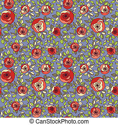 Vintage multicolor roses seamless pattern Vector - Vintage...