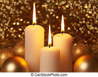 burning christmas candles
