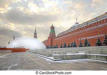 Mausoleum on repair - Mausoleum of Lenin covered by a...